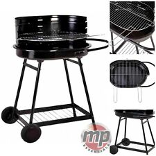 Barren Portable Charcoal Trolley Barbecue BBQ Outdoor Grill with Wheels - BLACK