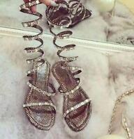 Plus size Women sandals Crystal Gladiator Flat Heel Strappy Boho Roman Shoes Sz
