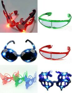 LED Flashing Light-Up Party Glasses Dancing Fun Birthdays Night Events