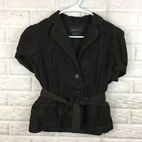 BCBGMAXAZRIA Women Corduroy Jacket Medium Short Sleeve Belt Brown Textured