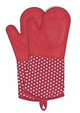 WENKO 2102168100 Oven gloves Silicone Red - 1 pair, Cotton