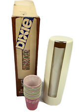 Dixie Cup Dispenser  Retro White 5oz Cups Vintage NOS With 12 Wax Cups