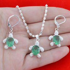 NEW Fashion Charm Emerald Silver Necklace Pendant + Eearring Jewelry Set Gift