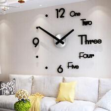Wanduhr Uhr 3D Wandtattoo Deko Design Spiegel Acryl Wand DIY Dekouhr Groß XL