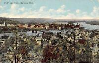 Marietta Ohio~Birdseye Panorama~Homes Around Bridge~1912 Postcard