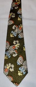 Vintage Damon Wrenn of Florida Mens Neck Tie Olive Green Paisley Orange Hippy