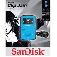 SanDisk-Sansa-Clip-Jam-8GB-MP3-Player-FM-Radio-Music-USB-MicroSD-Slot-Blue-NEW