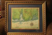 "Gulf Coast 1800's Map Art 26"" x 22"" Original Drawing Rich Britnell Framed Print"