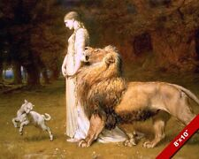 WOMAN IN DRESS WITH LAMB & LION PAINTING REAL CANVAS UNA FAIRY QUEEN ART PRINT