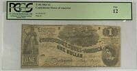 1862 $1 Confederate Note T-44 PCGS Fine 12