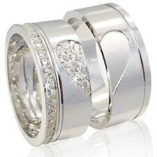 2 Trauringe HERZ 925 Silber Gravur+Etui Eheringe Verlobungsringe Ringe 33H ML