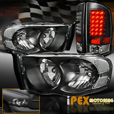 For 2002-2005 Dodge Ram 1500/2500/3500 Black Headlights + Ultra LED Tail Lights