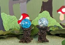 Fiddlehead Fairy Garden Miniature Stump Gazing Balls Crystal and Blue Set of 2