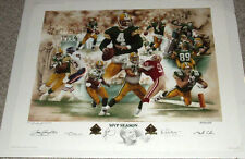 GREEN BAY PACKER BRETT FAVRE 4 ROBERT BROOKS AUTOGRAPHED MVP LE LITHO LITHOGRAPH