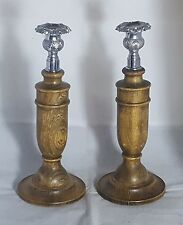 Beautiful Tall Pair of Wooden Candle Stands With Silver Plated Top