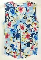 Rose + Olive Womens Sleeveless V-neck Sheer Inverted Pleat Front Blouse Floral S