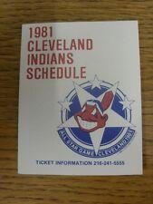 1981 scheda di impianti: Baseball-Cleveland Indians (Pieghevole Stile). eventuali difetti WIT