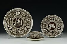 Early Spode Greek Brown 4 Piece Place Setting Dinner Plate Salad Cup Saucer #2
