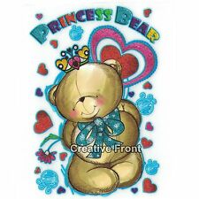 Princess Bear Teddy Hearts Iron On Glitter Heat Transfer - T-Shirt Sticker - NEW
