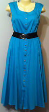 Nine West Dress Size 10 Turquois Antibes Cotton Lined Belted Snaps Sleeveless