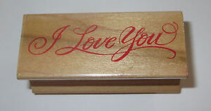 """I Love You Rubber Stamp All Night Media Wood Mounted Cursive 2.5"""" Long"""