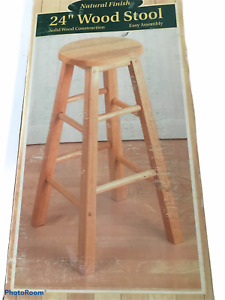 """24"""" Natural Tan Wood Bar Stool Tall Chair Seat New in Box Easy Assembly"""