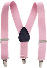 "New 1"" Light Pink Suspenders Baby, Toddlers, Kids, Boys Elastic Adjustable - Mad"