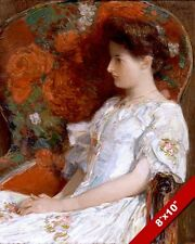 BEAUTIFUL GIRL WOMAN IN DRESS VICTORIAN CHAIR OIL PAINTING ART REAL CANVAS PRINT