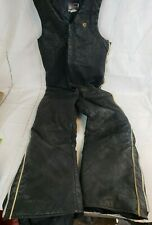 Vtg LEATHER Arctic Cat Arctic Wear Mens Black Snow Pants Overalls Bibs XL TALL