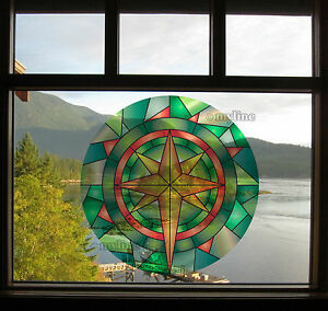 Decorative window film stained glass style removable & repositionable 021E DIY