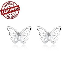 Certified 100% Solid Sterling Silver Lovely Butterfly Stud Earrings Nickel Free