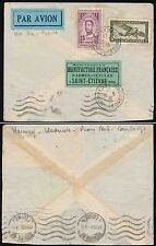 FRENCH INDOCHINA CAMBODIA 1938 AIRMAIL...ARMES + CYCLES LABEL ST ETIENNE