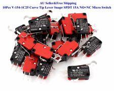 10Pcs V-154-1C25 Curve Tip Lever Snapr SPDT 15A NO+NC Micro Switch New AU