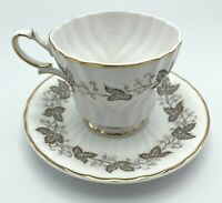 Vintage Queen Anne China Teacup & Saucer AILSA pattern GOLD accents scalloped