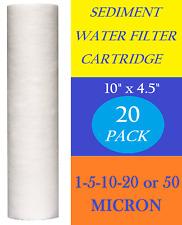 "20 Pack 4.5"" x 10"" Sediment Cartridge Spun Polypropylene Water Filter"
