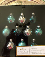 Costal Collection  GLITTERED AQUA TURQUOISE GLASS CHRISTMAS ORNAMENTS.   SET 10.