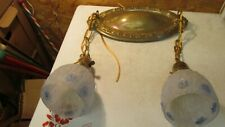 Antique Oval Brass Ceiling Light Fixture & 2 Blue Flower Shades