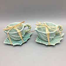 x2 Blue Sky Clayworks Turquoise Aqua Seashell Teacup Saucer Set Beach Shell Flaw