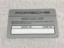"""Porsche 911 924 964 Autoradio Blaupunkt Becker Code-Karte """"RADIO CODE CARD"""", NOS"""