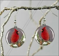 BIRD RED CARDINAL WINTER AND PINE CONE ROUND GLASS EARRINGS -tdg6Z