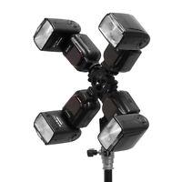 Four Quadruple Hot Shoes Mount Adapter Umbrella Holder Bracket Flash Light Stand