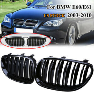 For BMW 5-Series E60 E61 2003-2011 2xFront Bumper Grille Hood Cover Gloss Black