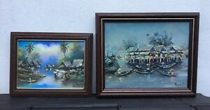 2 Signed Oriental Style Oil Paintings In Wooden Frames