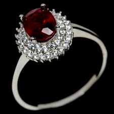 NATURAL 6 X 8mm. RED RUBY & WHITE CZ STERLING 925 SILVER RING SZ 8