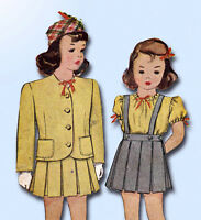 1940s Vintage McCall Sewing Pattern 5908 WWII Toddler Girls 2 Pc Suit Size 4