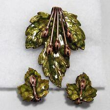 Vtg 1950s MATISSE RENOIR Enamel Copper Leaf Brooch (Pendant) Pin & Ear Clips Set