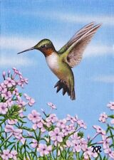 ACEO Hummingbird pink flowers art print miniature limited edition signed number