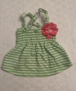 Lulu Pink pet clothes Xs green white striped dress