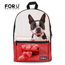 School Backpacks for Teenage Girl Children French Bulldog Canvas Bookbag Daypack