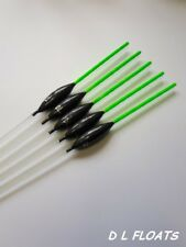 5x `DL` HAND MADE POLE FLOATS  `Self Cocking Slim Paste Floats` Green Tips.